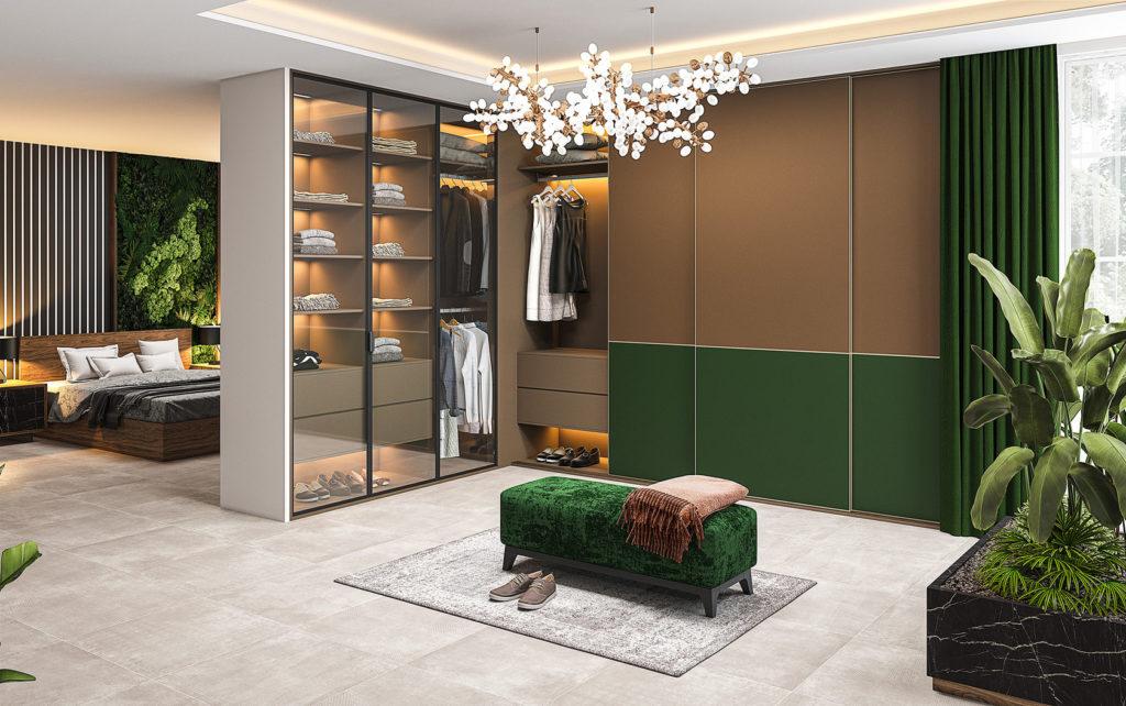 Зона гардеробной в спальне