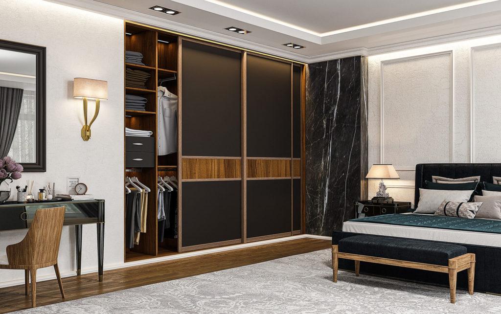 Встроенный шкаф-купе в спальне